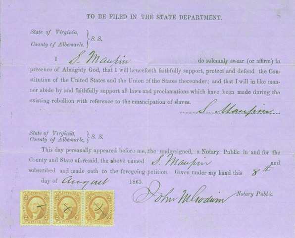 Loyalty oath signed by Socrates Maupin. 1865 August 8. Click image for larger view.