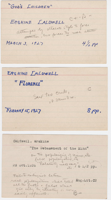 Atcheson Hench. Grade cards for Erskine Caldwell. 1926-27.