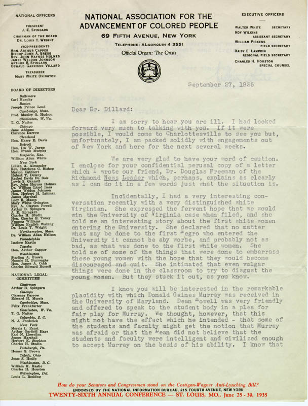Typed letter, signed. N.A.A.C.P. Secretary Walter White to James Hardy Dillard, educator and supporter of civil rights. 1935 September 27.
