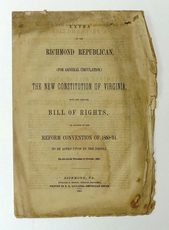 New constitution, etc. adopted by the Virginia Convention, August 1, 1851.