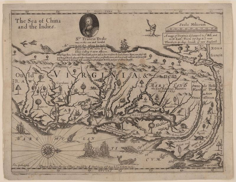 A mapp of Virginia discovered to ye falls and in it's latt: from 35. deg: & 1/2 neer Florida, to 41. deg: bounds of new England /