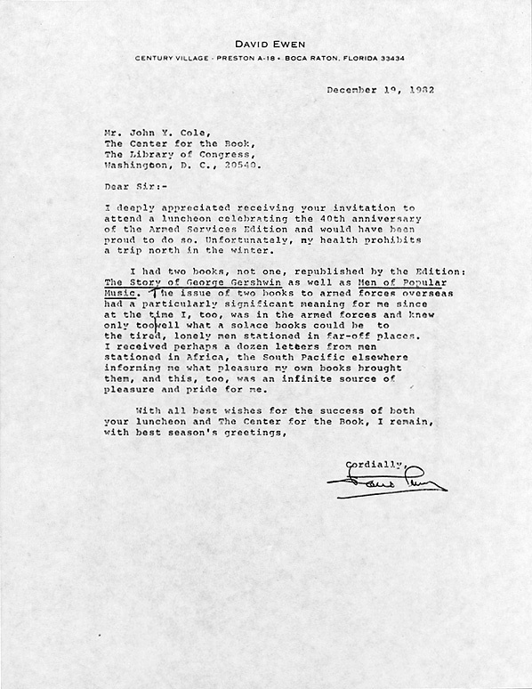 David Ewen. Letter to John Y. Cole. 19 December 1982