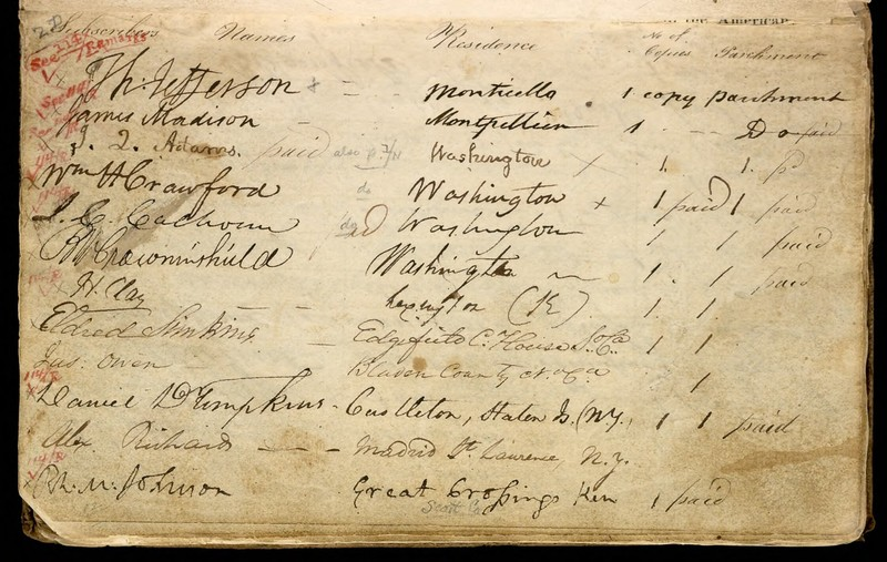 Benjamin Owen Tyler. Subscription book for a facsimile of the Declaration of Independence, 1815-1818, p.7 (MSS 12143)