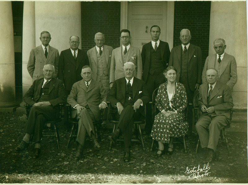 Photograph of University of Virginia Board of Visitors, including Mary Cooke Branch Munford, taken at the appointment of John Lloyd Newcomb as second president of the University of Virginia. 1933.