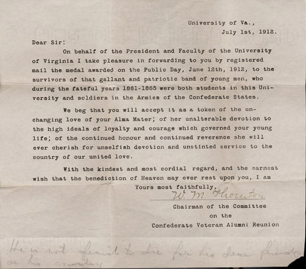 Program for reunion of University of Virginia students and Confederate soldiers containing roster of surviving Confederate alumni. 1912 June 10-12.