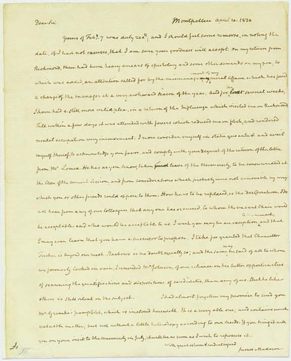 Autograph letter, signed. James Madison to Joeseph Carrington Cabell. 1830 April 10.