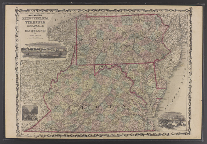 Johnson's Pennsylvania, Virginia, Delaware, and Maryland.  [1862?]