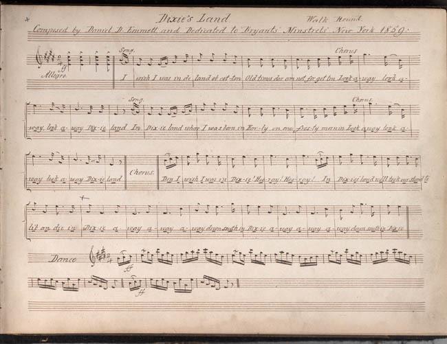 "Daniel Decatur Emmett, Manuscript of ""Dixie's Land,""  1859-1868."