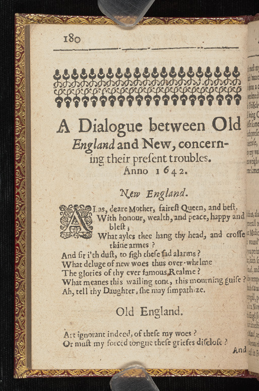 Anne Bradstreet, The Tenth Muse lately sprung up in America, 1650.