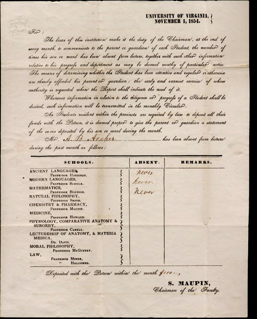 A. B. Archer absenteeism report. 1854 November 1.