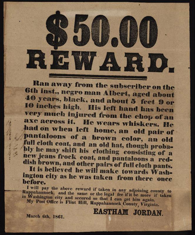 Eastham Jordan, Runaway slave broadside. [Virginia, March 1861]