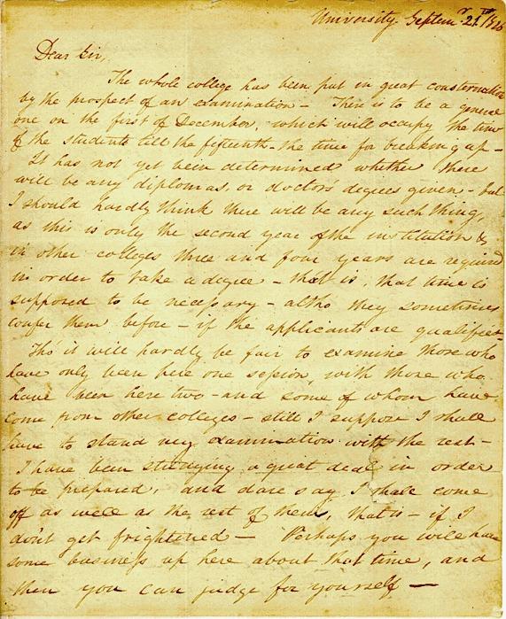 Letter Number 2&lt;br /&gt;<br /> Edgar Allan Poe, University of Virginia, September 21, 1826&lt;br /&gt;<br /> to John Allan, Richmond, Virginia. 3 pp. ALS. Signed.