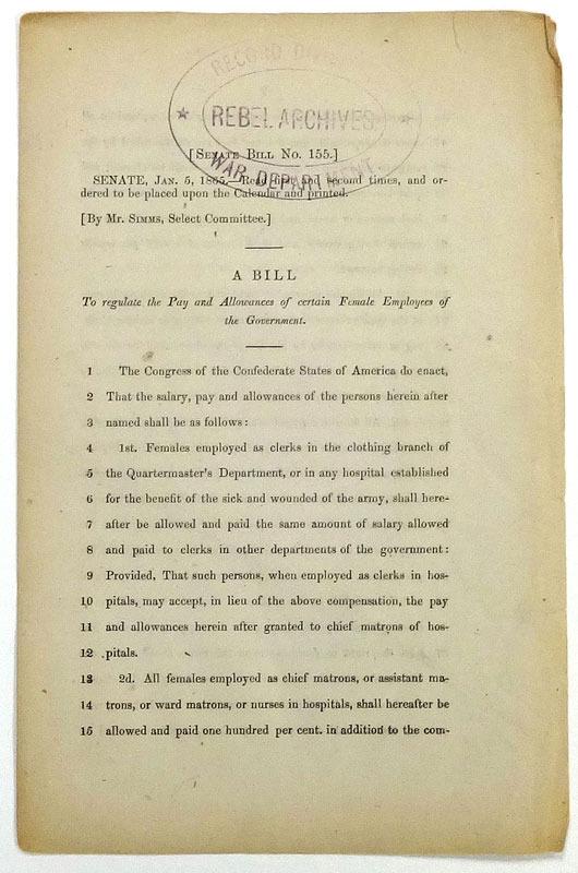 Confederate States of America. Congress Senate. Senate Bill No. 155. ... [Richmond, Va., 1865]