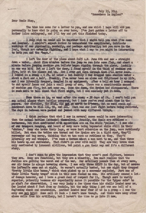 """Typed letter. Samuel Rowland to """"Uncle Shep."""" 1944 July 5."""