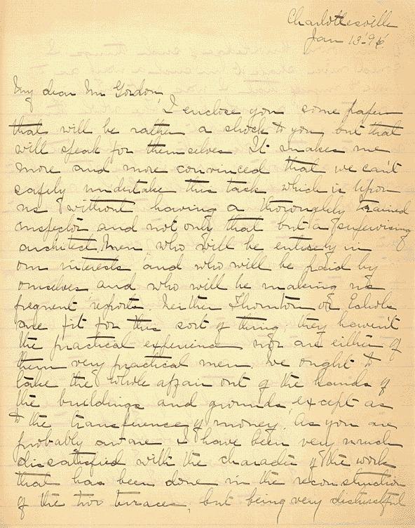 W.C.N. Randolph, to Armistead Gordon<br /><br /> January 13, 1896