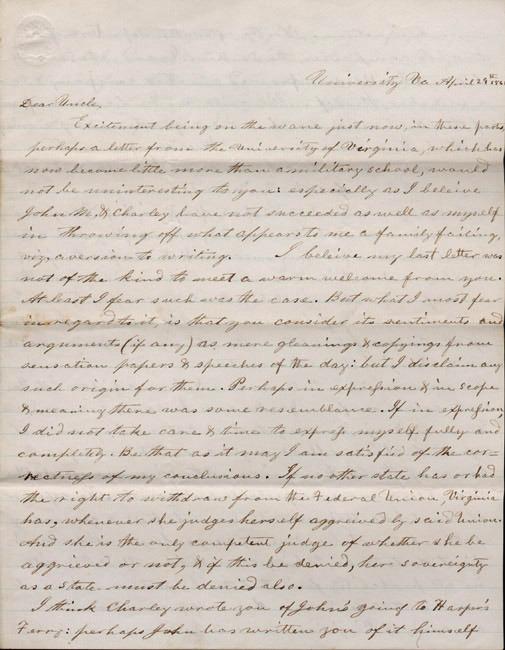 Autograph letter, signed. Walter C. Preston to his uncle, John M. Preston. 1861 April 29.