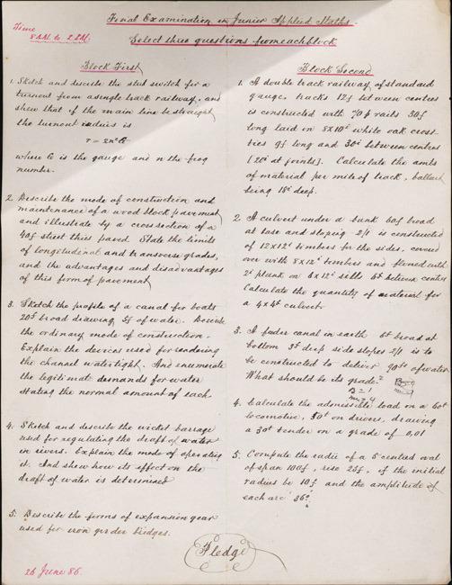 William Mynn Thornton's five-hour final examination in applied mathematics. 1886 June 26.