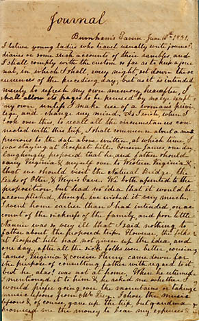 Mary Jane Boggs Holladay. Journal. Manuscript, June 1851