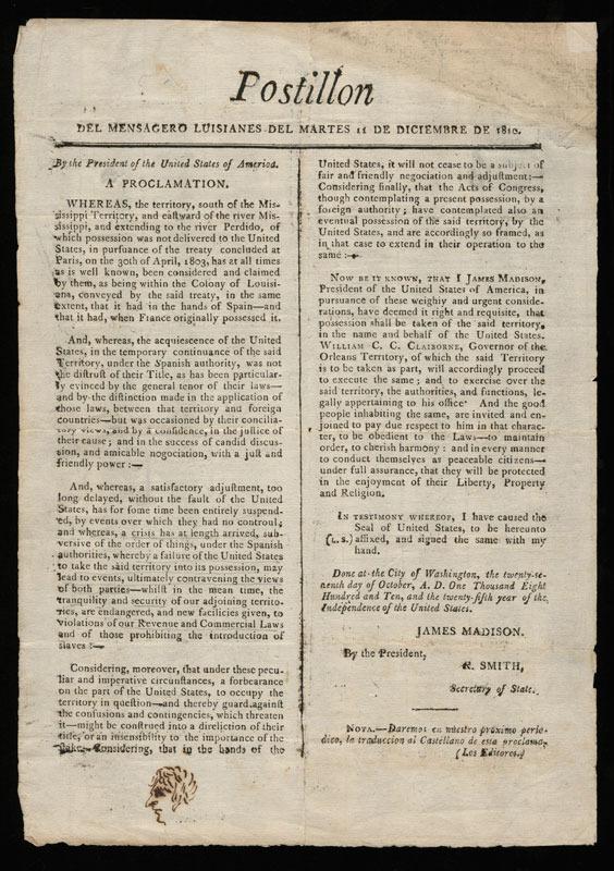 James Madison, Postillon del Mensagero Luisianes, 1810.&lt;br /&gt;<br />