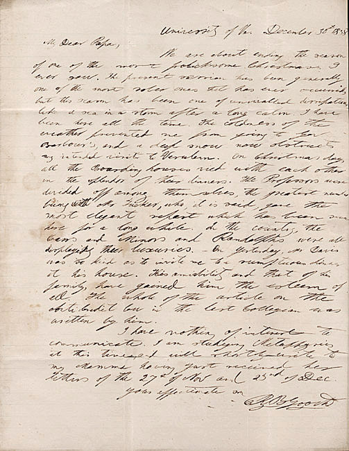 Autograph letter, signed. Richard B. Gooch to Colonel G. W. Gooch. 1838 December 30.