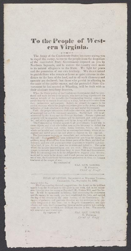 William W. Loring, To the people of western Virginia. Charleston, Va., 14 September 1862.