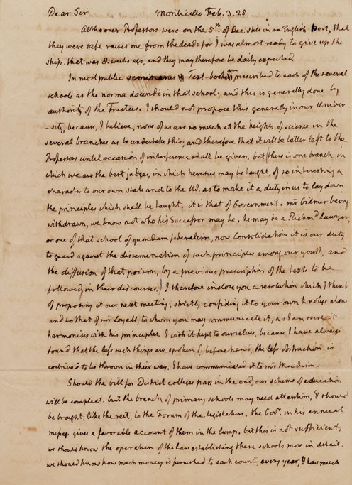 Jefferson wrote to Joseph C. Cabell on February 3, 1825