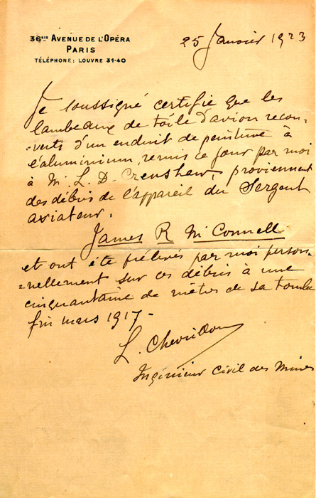 McConnell documents. January 25, 1923. Chevrillon