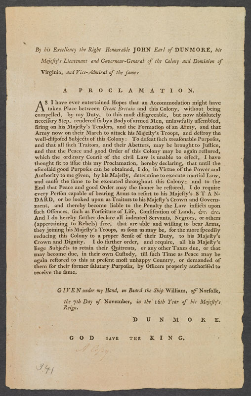 John Murray, Earl of Dunmore, By his Excellency the Right Honorable John Earl of Dunmore, ... A proclamation ..., 1775.