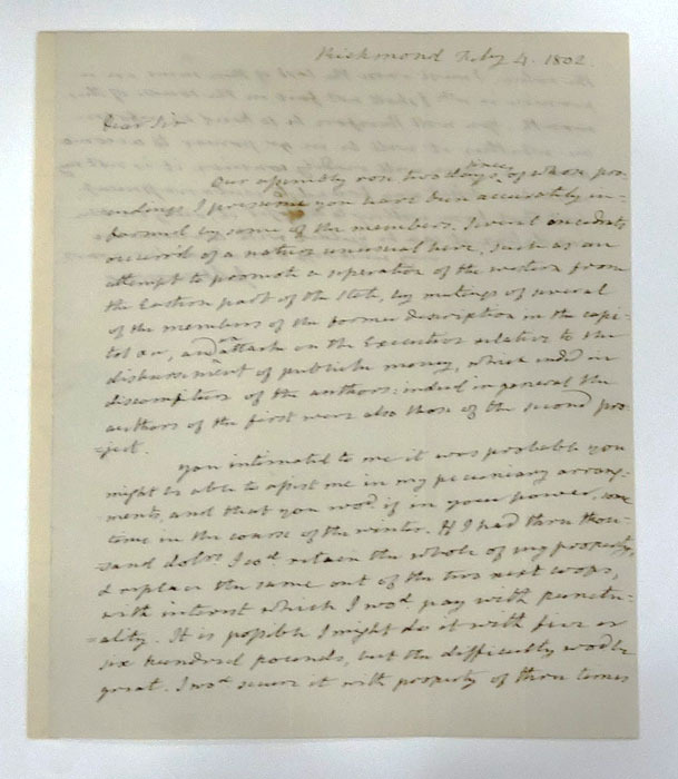 James Monroe, Letter to William B. Giles, 4 February 1802.