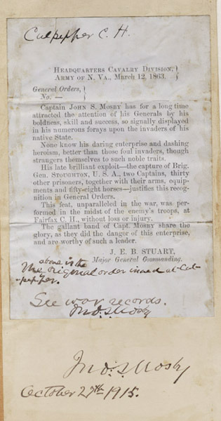 J.E.B. Stuart General Orders. 1863 March 12.
