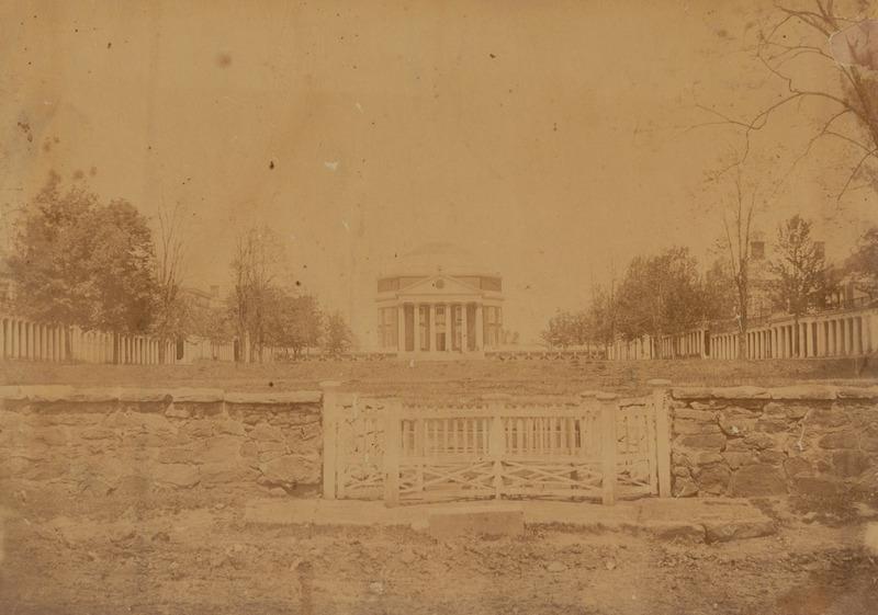 Photograph of the University of Virginia Rotunda and Lawn, ca. 1868.