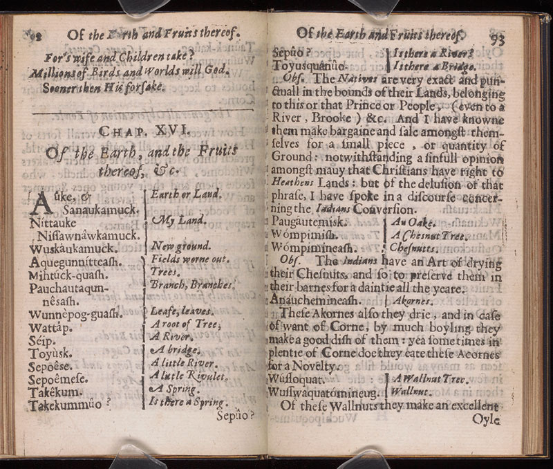 Roger Williams, A key into the language of America, 1643.