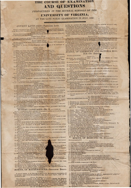 """""""The course of Examination and Questions propounded in the several schools of the University of Virginia at the late public examination."""" 1828 July."""