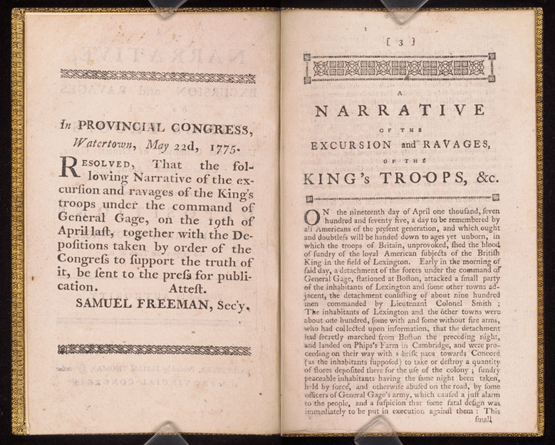 Massachusetts Provincial Congress, A narrative of the excursion and ravages of the King's troops, 1775.