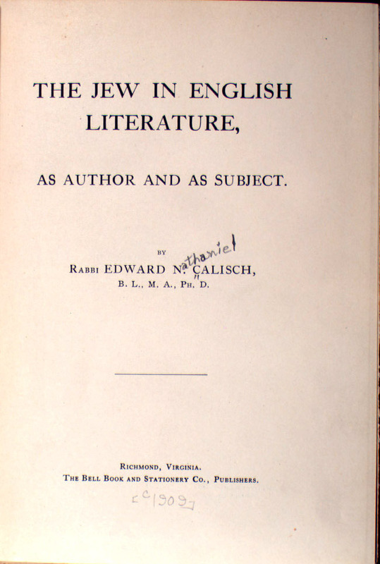 The Jew in English Literature as Author and as Subject (title page)