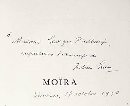 Julien Green. Moira. Paris: Librarie Plon, 1950.