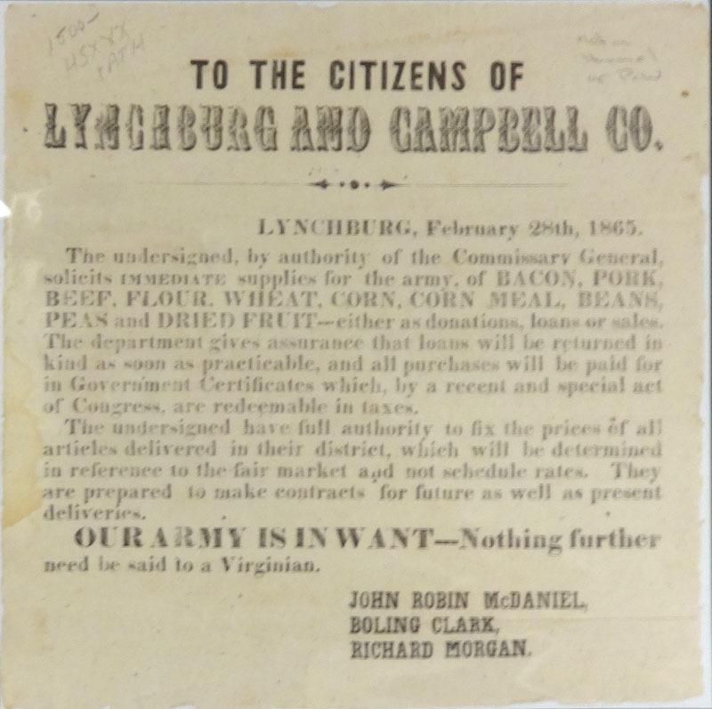 John Robin McDaniel, Boling Clark, and Richard Morgan, To the citizens of Lynchburg and Campbell Co. ... [Lynchburg, Va., 1865]