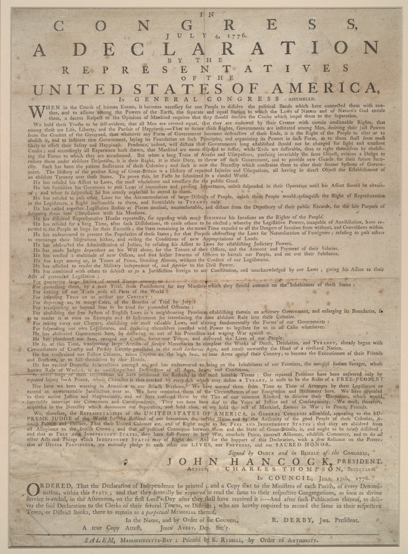 Declaration. Salem, Massachusetts-Bay: E. Russell, July 4, 1776. (KF4506 .A1 1776ab)