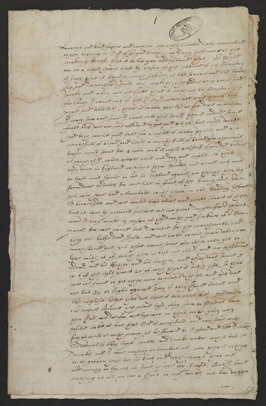 Letter from Richard Ffrethorne, Martin's Hundred, Virginia, to his parents, England, 20 March - 3 April 1623