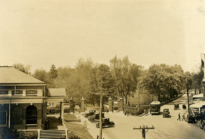 "The Senff Gates bordering ""The Corner,"" ca. 1920s"