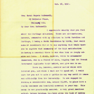 McConnell letters. October 18, 1917. Alderman to Sarah McConnell, p.1