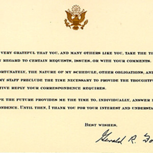 Gerald R. Ford. Printed card. Received in January 1996