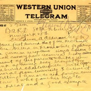 McConnell letters. March 26, 1917. Telegram. T.S. Fuller to Alderman