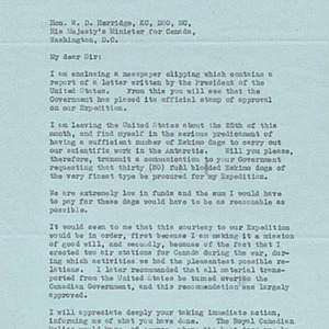 Typed carbon copy letter. Richard E. Byrd to the Honorable W. D. Herridge, His Majesty's Minister for Canada. 1933 September 13.