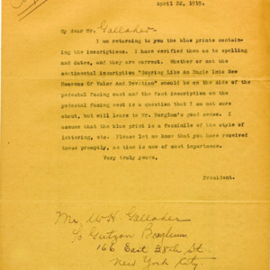 McConnell letters. April 22, 1919. Alderman to Gallagher