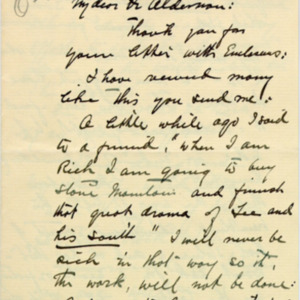 McConnell letters. February 5, 1927. Borglum to Alderman, p.1