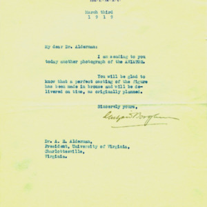 McConnell letters. March 3, 1919. Borglum to Alderman