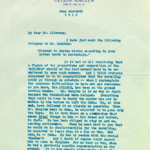 McConnell letters. June 5, 1919. Eugenia Flagg to Alderman, p.1