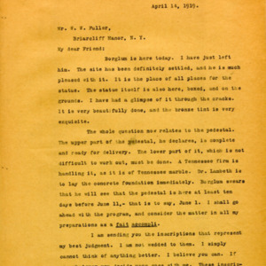 McConnell letters. April 14, 1919. Alderman to W.W. Fuller, p.1