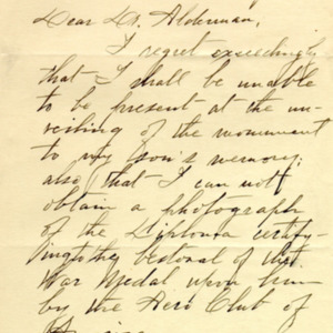 McConnell letters. May 18, 1919. Sarah McConnell to Alderman, p.1